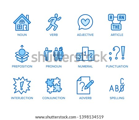 Grammar, education flat line icons set. Parts of speech verb, preposition, pronoun, adjective, interjection vector illustrations. Thin signs for english learning. Editable Strokes.