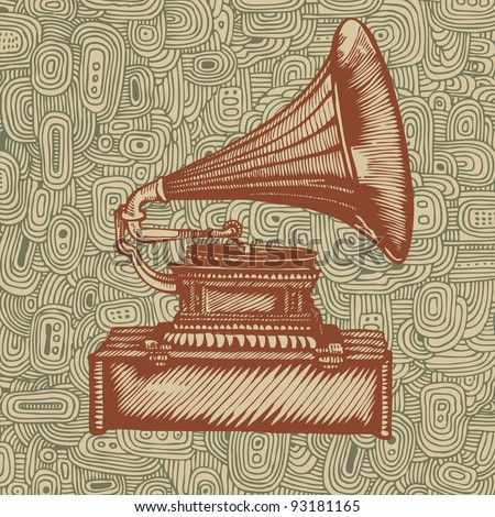 gramophone and doodle background. hand drawing. engraving style. vector illustration.
