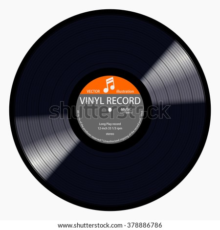Gramophone gray label vinyl LP record with music note. Black musical long play album disc 33 rpm. old technology, realistic retro design, vector art image illustration, isolated on white background