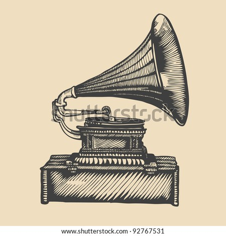 gramophone. hand drawing. engraving style. vector illustration.