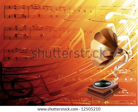 gramophone on musical background