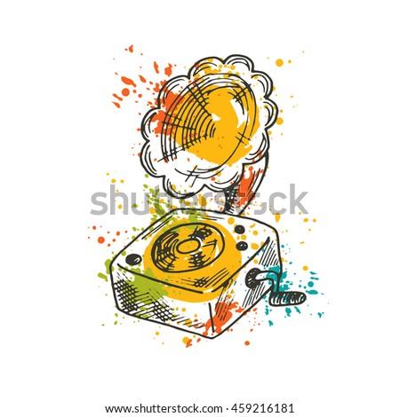 Gramophone on the watercolor splash. Musical instrument. Hand drawn vector illustration. T-shirt, poster, banner, badge, sticker, placard, label, logo, emblem, icon, symbol, tag, mark