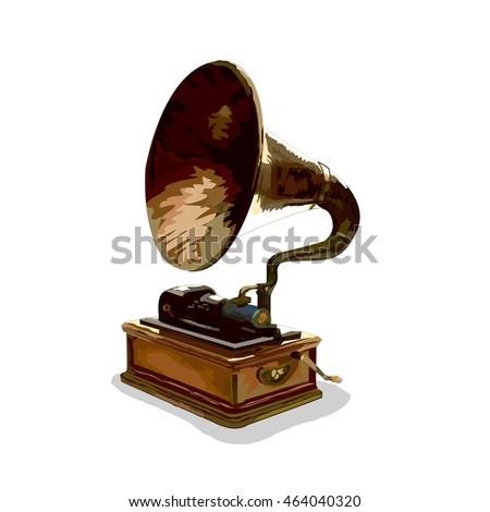 gramophone vintage vector #464040320