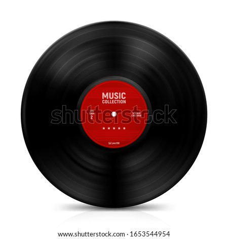 gramophone vinyl record with label. Music collection. old technology, retro sound design. vector illustration, isolated on white background Foto stock ©
