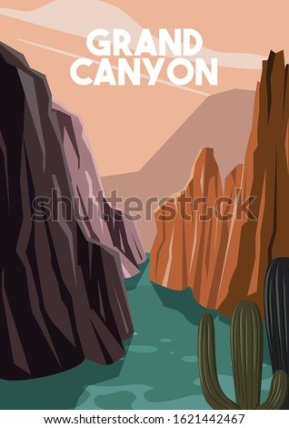 Grand Canyon Arizona Vector Illustration Background. Travel Destination to Grand Canyon Suitable for Print Art, Poster and Website. Flat Cartoon Vector Illustration in Colored Style. ストックフォト ©