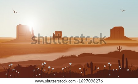 Grand Canyon desert landscape vector illustration.