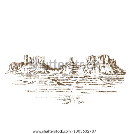 Grand Canyon USA. Engraving