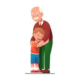Grand father embracing grand son child. Kid embrace his granddad. Grandpa smiling with love hugging his laughing grandson. Generations & family relationship. Flat style vector illustration