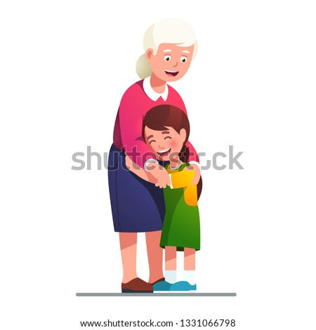 Grand mother embracing grand daughter child. Kid embrace his grandmother. Grandma smiling with love hugging his laughing granddaughter. Generations & family relationship. Flat style vector illustratio