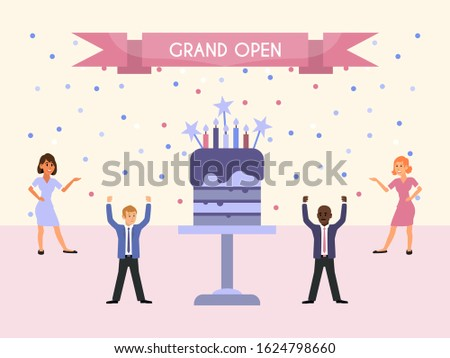 Grand open party people and cake vector illustration. People celebrate work corporate, standing near a big cake. Business event concept for events organizations