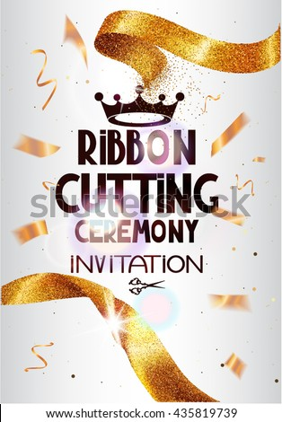 Grand Opening background with gold sparkling ribbon ,flying confetti. Holiday background. Vector illustration