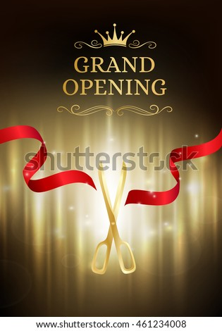 grand opening banner with cut red ribbon and gold scissors dark vector background with light grand opening invitation card