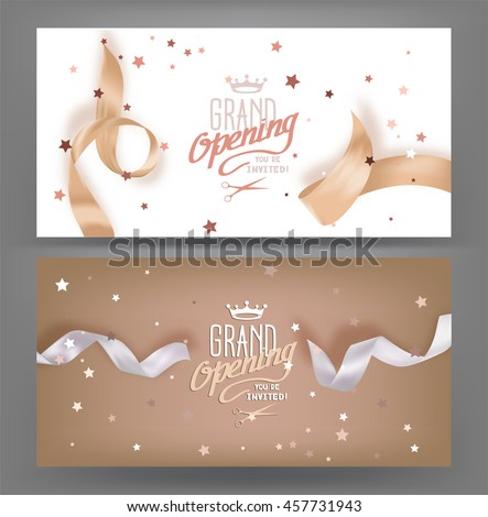 Grand opening banners with silk pastel toned ribbons. Vector illustration