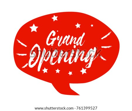 Grand Opening, Beautiful greeting card poster with comic style text