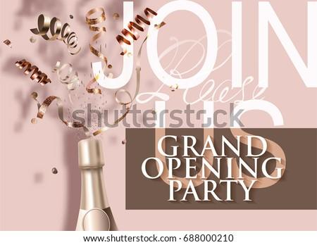 grand opening beige invitation...