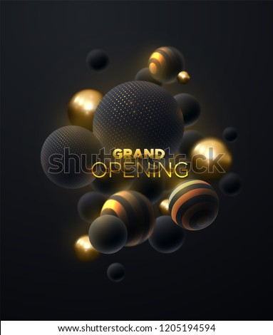 Grand Opening. Business startup ceremony. Marketing event label. Abstract background. Vector illustration of black and golden spheres textured with glittering strass. Announcement banner template.