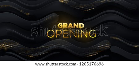 Grand Opening. Business startup ceremony. Vector illustration. Marketing event label. Abstract background with black paper shapes and golden glittering strass. Announcement banner template.