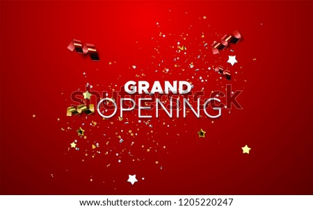 Grand Opening. Business startup open ceremony. Vector illustration. Marketing event label. Abstract background with colorful sparkling confetti tinsel. Announcement banner template.