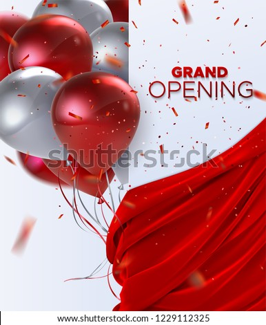 Grand Opening. Business startup open ceremony. Vector illustration. Marketing event label. Abstract background with flying balloons, silky red fabric and falling confetti. Announcement banner template