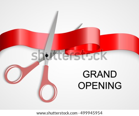 Grand opening cards with scissors and red ribbon