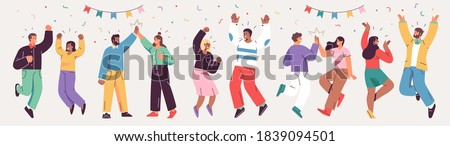 Grand opening ceremony celebration or other big ceremony event concept. Шllustrations of excited happy people celebrating an event. Vector