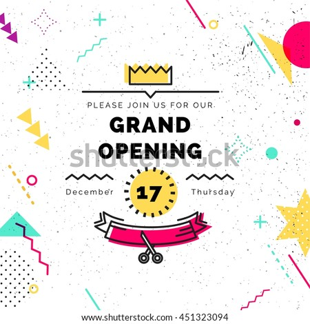 Grand opening colorful banner. Vector background in retro 80s, 90s memphis style. Scissors cutting red ribbon