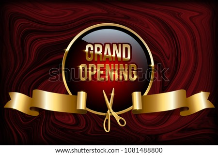 Grand opening design concept. Vector golden ring, scissors and ribbon on red marble background.