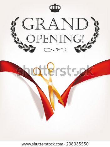 grand opening invitation card with gold scissors 238335550