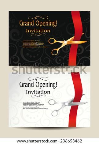 Royalty free set of big opening invitation cards 239113783 stock grand opening invitation cards 236653462 maxwellsz