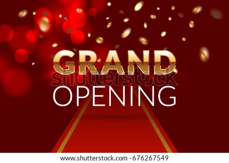 Grand Opening Invitation Concept Luxury Design Gold Glitter Letters On Abstract Background With Red