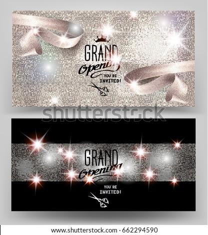 stock-vector-grand-opening-invitation-shiny-cards-with-sparkling-elegant-ribbon-vector-illustration