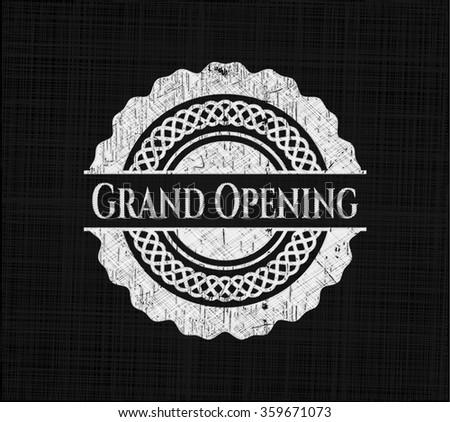 Grand Opening on chalkboard