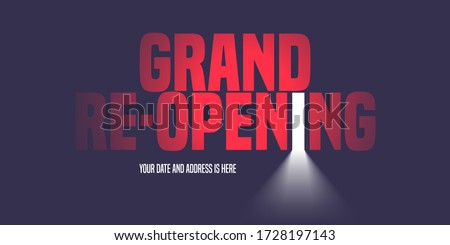 Grand opening or re-opening vector illustration, background with creative design. Template banner, flyer for opening or reopening ceremony