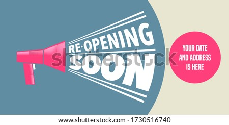 Grand opening or re opening vector illustration for new store. Template design element can be used as banner, flyer for opening or re-opening event