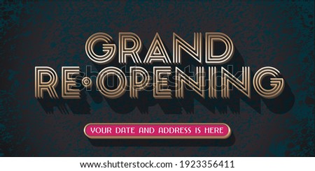 Grand opening or re opening vector illustration for new store. Template design element with luxury golden sign can be used as banner, flyer for opening or re-opening event