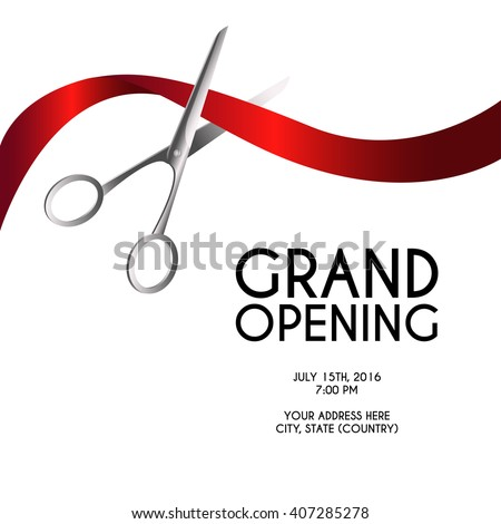 Grand opening poster mock-up with silver scissors cutting red ribbon isolated on white background, design announcement template. Editable and movable objects. EPS 10. #407285278