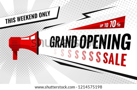 Grand opening sale banner. Sale poster with geometric shapes and megaphone.  Vector background in pop art style.  Vector illustration.