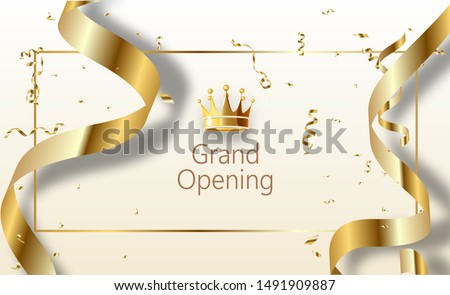 Grand opening sparkling banner. Text composition with golden splashes and ribbons.Gold sparkles. Elegant style.