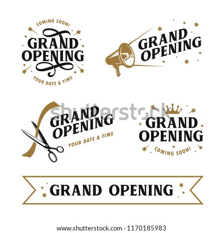 Grand opening templates set. Lettering design elements for opening ceremony. Retro style typography. Vector vintage illustration.