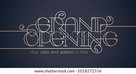 Grand opening vector background. Elegant lettering design element for poster or banner for opening ceremony