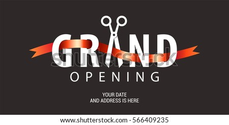 Grand opening vector background. Scissors and red ribbon nonstandard design element for  banner or backdrop for opening ceremony