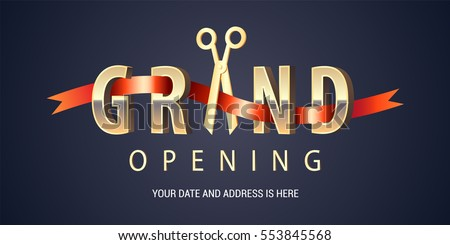 Grand opening vector background. Scissors cutting red ribbon design element for poster or banner for opening event