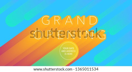 Grand opening vector banner, illustration. Nonstandard design element with modern font for red ribbon cutting and opening ceremony
