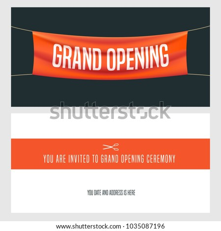 Grand opening vector illustration, background, invitation card Template banner, invite for opening event