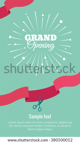 Grand opening vertical banner. Text with  firework and ribbons. Flat style. Vector Illustration. Eps 8