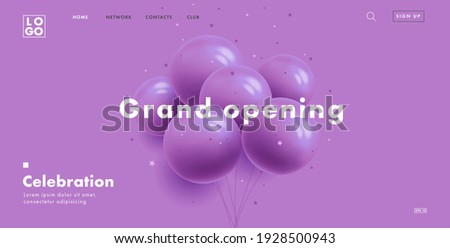 grand opening web banner with bunch of round purple air balloons on purple background, modern style landing page design with interface elements