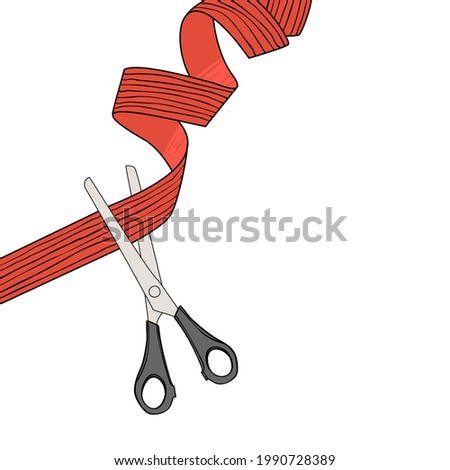 Grand opening with scissors and ribbon. Hand drawn vector illustration isolated on white. Flat color design.