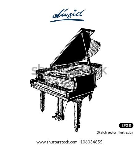 grand piano hand drawn sketch