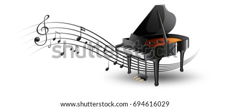 grand piano with music notes