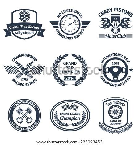 Grand prix racing crazy pistons motorclub black emblems set isolated vector illustration